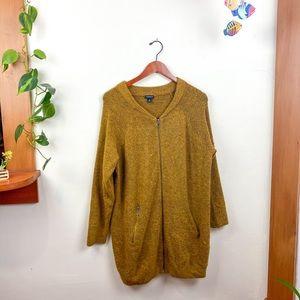 Torrid Mustard Long Sleeve Knit Zip Up Sweater 3X